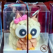 Mini bolo mamãe coruja com cobertura de ganache embalado para presente
