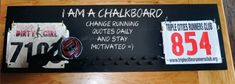Chalkboard Running Medal and Bib Holder Made of Solid Pine 30 x Great way to keep track of your PRs and also a great place to write Running Medals, Work Anniversary, Personalized Wine Glasses, Diy Gifts For Him, Running Club, Chalk Markers, Beer Mugs, Solid Pine, Girl Quotes