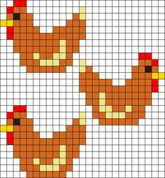 Kandi Patterns for Kandi Cuffs - Animals Pony Bead Patterns Chicken Cross Stitch, Tiny Cross Stitch, Cross Stitch Animals, Cross Stitch Charts, Cross Stitch Designs, Cross Stitch Patterns, Pony Bead Patterns, Kandi Patterns, Pearler Bead Patterns