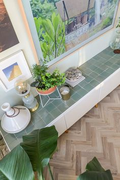 IKEA HACK: existing TV furniture tiles with zellige tiles - IKEA HACK! Existing TV furniture with zellige mint green tiles (design tiles) and oak legs (Prettyp - Ikea Hack, Home And Living, Contemporary Home Decor, Diy Home Decor, Tv Furniture, Home, Home Diy, Home Deco, Home Decor