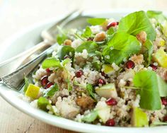 Quinoa with Watercress, Pears and Pomegranates - Recipes - Whole Foods Market Cooking New York City Pomegranate Recipes, Pear Recipes, Side Dish Recipes, Whole Food Recipes, Salad Recipes, Healthy Recipes, Pomegranate Seeds, Healthy Foods, Healthy Life