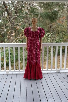 Vintage 80s Mike Benet Mermaid Gown Fuchsia SZ 20 Formal BY