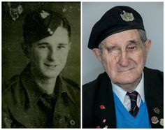 "Frank Rosier, Normandy Veteran, Then and Now ""As a London boy who had survived the Blitz but had never seen a dead body the carnage on the beach brought me to a complete standstill. It was so horrific that it has stuck with me to this day""."