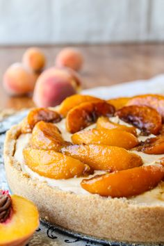 No Bake Dulce de Leche Cheesecake with Caramelized Peaches