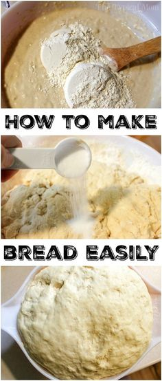 Baking bread at home isn't as scary as it sounds, and is easier to make than you probably think. If you wanna try making homemade bread here's an easy way. Bread Machine Recipes, Easy Bread Recipes, Baking Recipes, Dessert Recipes, Dinner Recipes, Cookbook Recipes, Potato Recipes, Pasta Recipes, Crockpot Recipes