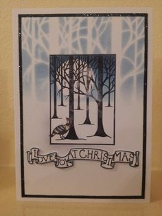 """A variation on the """"partridge in a pear tree"""" using the treescape stamp and stencil."""
