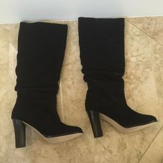 "Banana Republic Black Suede Boots NWOT Size 6  Banana Republic Black Suede Boots Size 6.        14"" calf opening,  3.5"" heel,  15"" up the leg. These were a sample and I have no box. Never worn. NWOT Banana Republic Shoes Heeled Boots"