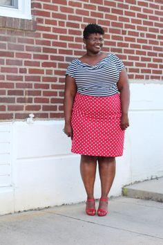 Striped black and white boat neck top, red polka dots skirt (POC, women of color, self love, self acceptance, fatspo, self image, body love, body positive, fatspiration, plus size fatshion, fashion)