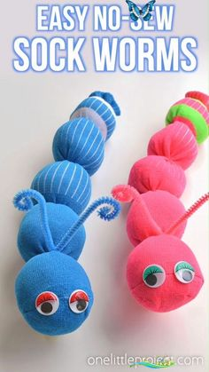 How to Make No-Sew Sock Worms   Easy Sock Worm Craft for Kids These no-sew sock worms are SO EASY and the kids love them! This is such a fun kids craft that's easy enough that the kids can actually make it themselves. #DIYHomeSeller #HomeOwners #HomeSellingStrategies #HomeSellingTips #DIYKidsCrafts<br> These no-sew sock worms are SO EASY and the kids love them! This is such a fun kids craft that's easy enough that the kids can actually make it themselves. Worm Crafts, Fun Crafts For Kids, Easy Diy Crafts, Diy Crafts To Sell, Diy For Kids, Arts And Crafts, Creative Crafts, Simple Crafts, Stick Crafts