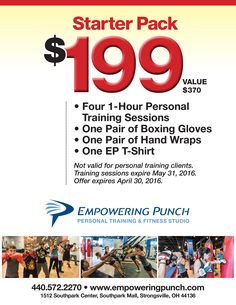 Perfect for first timers getting started! Take advantage of this great offer - more than 50% off the regular price! Receive (4) 1-hour sessions with a certified personal trainer, a new pair of boxing gloves, boxing hand wraps and an Empowering Punch t-shirt! Offer expires April 30th so act fast!