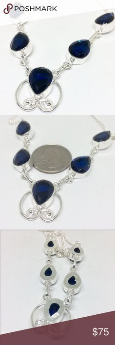 """🌀🆕HANDCRAFTED BLUE SAPPHIRE STERLING SILVER Blue Sapphire 16"""" - 18"""" long Handcrafted All Set in Sterling Silver NWOT handcrafted Jewelry Necklaces"""