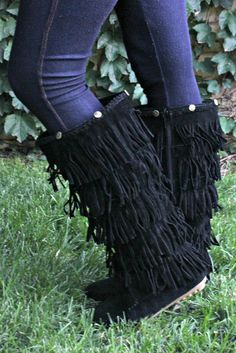 Tall Fringe Mocassin Boots in Black