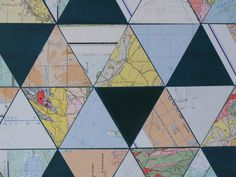Detail Map Collage on Wood Panel #rectangle #design #interiordesign #maps #geometry #decor #lines inquire at www.tristesseseeliger.com or missytrissy@gmail.com