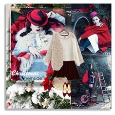 """Red Christmas - Sheinside!"" by shinee-pearly ❤ liked on Polyvore featuring Monsoon, Charlotte Olympia, Sheinside and Sheiside"