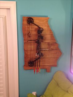 Custom GA wall mount for Chase's compound bow
