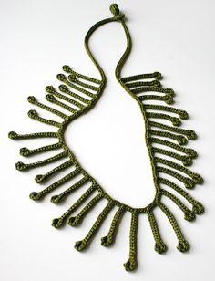 Oliva - Wearable Fiber Art Jewelry - Crocheted Collier Necklace - Silk by Elena Rosenberg Wearable Fiber Art, via Flickr