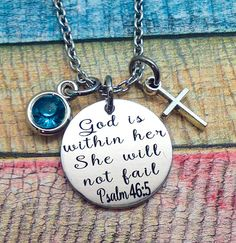 Scripture Jewelry, God is within her she will not fail, Psalm 46:5 necklace, Spiritual Jewelry, Communion gift, Bible Verse Jewelry