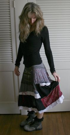 Upcycled Recycled Lagenlook Shabby Skirt Rolling Stones