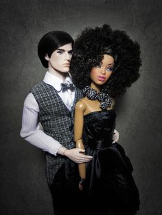 I love her hair and dress! Another Pinner wrote: Black Barbie and White Ken.What IF they had a wedding? Mixed Couples, Couples In Love, Beautiful Family, Black Is Beautiful, Divas, Interracial Couples, Black Barbie, Barbie Collection, White Man