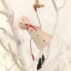 Dangling snowman hanging Christmas tree decoration. Shoeless joe. Shabby chic