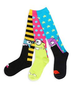 This Black & Yellow Monster Fun Three-Pair Knee-High Socks Set is perfect! #zulilyfinds