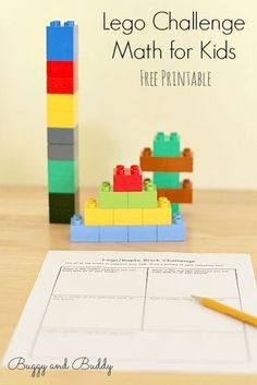 Lego Challenge Math Activity for Kids (with Free Printable)~ Buggy and Buddy