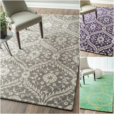 This hand made wool area rug uses subtle and modern colors to match today's interiors. The plush wool pile offers  great comfort under foot.