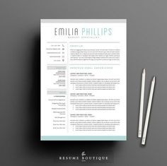 Resume Template 4 page pack | Aqua by The.Resume.Boutique on @creativemarket