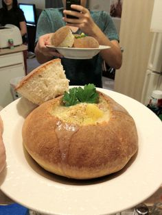 Home-made bread bowl with a creamy potato gouda BACON soup!
