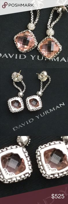 David Yurman Morganite Cushion-on-Point Earrings David Yurman Morganite Cushion-on-Point Earrings. 100% Authentic. There are from my personal collection and were purchased new from David Yurman. GORGEOUS! David Yurman Jewelry Necklaces