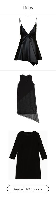 """""""Lines"""" by ma-d-1 on Polyvore featuring tops, dresses, shirts, tank tops, valentino shirt, slim fit shirts, leather tank top, slimming shirts, summer tank tops e платья"""