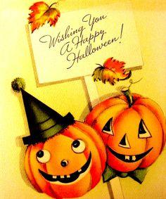 Vintage Halloween Greeting Card ~ Paramount Girl & Boy w/ Jack O . Halloween Prints, Halloween Art, Holidays Halloween, Happy Halloween, Halloween Stuff, Halloween Queen, Haunted Halloween, Halloween Clipart, Halloween Witches