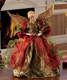 Red and Green Porcelain Angel Tree Topper Christmas Tree Tops, Led Christmas Lights, Christmas Poinsettia, Christmas Angels, Xmas Tree, Red Christmas, Christmas Wreaths, Christmas Crafts, Christmas Ornaments