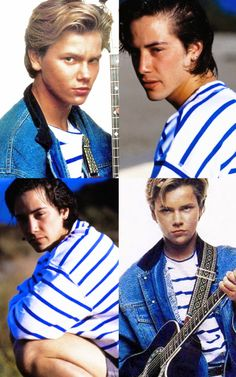 """keanuriver: """" Shared wardrobe part Keanu & River in striped sweater. 2000s Fashion Trends, Early 2000s Fashion, Indian Fashion Trends, Spring Fashion Trends, Beautiful Person, Beautiful Men, River Phoenix Keanu Reeves, Phoenix Images, Leonardo Dicaprio 90s"""