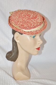 1930s Vintage Red and White Crochet Knit by MyVintageHatShop
