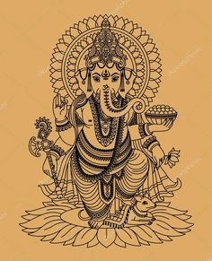 Vecteur : Indian god Ganesha For gidgets table I'm making her Ganesh Tattoo, Hindu Tattoos, God Tattoos, Arte Ganesha, Pintura Ganesha, Ganesha Drawing, Lord Ganesha Paintings, Indian Gods, Indian Art