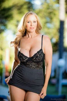 gorgeous and sexy - Julia Ann (gorgeous Porn Star Legend) in sensual black romper, sumptuous  boobs and