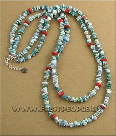 Double Strand Turquoise and Red Coral Necklace.