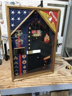 Shadow Box Display Case, Flag Display Case, Military Careers, Military Uniforms, Military Life, Military Art, Usmc Dress Blues, Military Shadow Box, Flag Holder