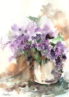 The bane of my attempts at watercolors. What's so hard about lilacs? The lightness! Go for the lightness!
