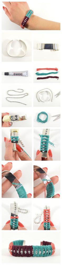 DIY Colorblocked Rhinestone Bracelet