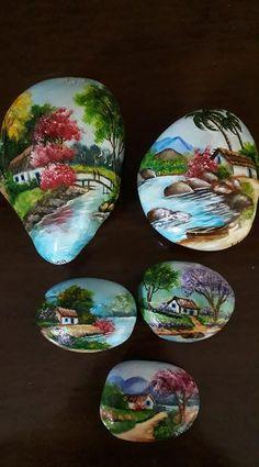 Seashell Painting, Pebble Painting, Pebble Art, Stone Painting, Rock Painting Designs, Painting Patterns, Paint Designs, Stone Crafts, Rock Crafts