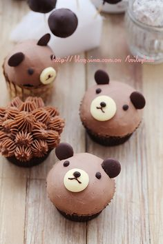 Bear cupcake♡                                                                                                                                                      More