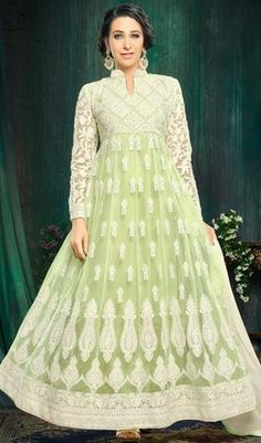 Green and White Colored Classy Embroidered Anarkali Suit