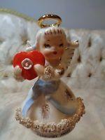 Lefton 'February' Valentine' Angel figurine w/large heart #AR1987