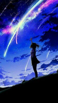 grafika anime, kimi no na wa, and night Anime Sky, Anime Galaxy, Anime Stars, Anime Yugioh, Anime Pokemon, Kawaii Anime, Animation, Manga Art, Manga Anime