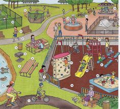 Park, playground for adults and children vocabulary. English lesson with conversion in PDF