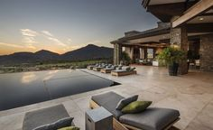 Interior Exquisite Arizona Desert Mountain Retreat With Comforting Views: Awesome Exterior Design With One Rectangle Swimming Pool Plus Six Bed Pool As Long As Outdoor Floor In White Marble Plus Fresh Indoor Garden In Vase