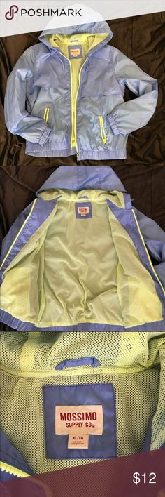 "Periwinkle/Neon Windbreaker/Raincoat (L/XL)*NWOT* Brand new - Never worn. Blue Windbreaker. Lemon/lime colored mesh inside. 💘Bundle your items and SAVE on shipping, and discounts💘  Pit to pit 22.5"" laying flat. Mossimo Supply Co. Jackets & Coats"