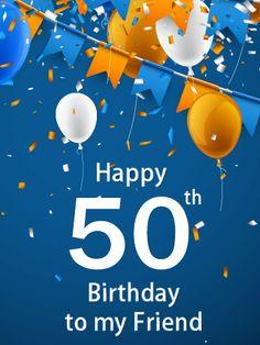 Blue Happy 50th Birthday Balloon Card